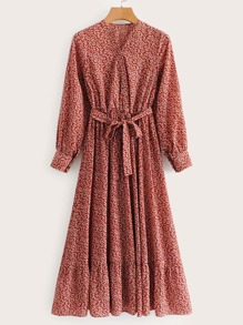 Calico Print Ruffle Hem Self Tie Shirt Dress