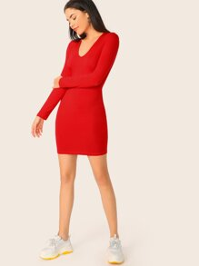 Solid Long Sleeve Form Fitted Dress