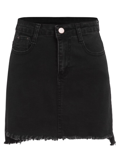 Plus Raw Hem Denim Skirt