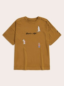 Guys Bear & Letter Embroidery Tee