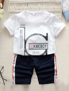 Toddler Boys Slogan Print Tee With Contrast Side Shorts