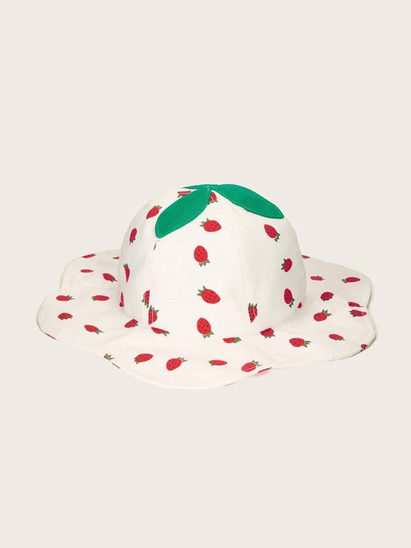 e58b5a278 Toddler Kids Patch Decor Strawberry Pattern Bucket Hat