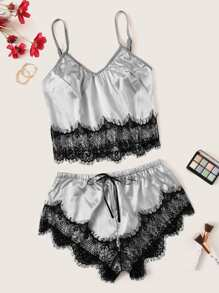 Scalloped Trim Contrast Lace Satin Cami PJ Set