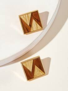 Triangle Pattern Square Stud Earrings 1pair