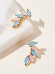 Leaf Detail Gemstone Stud Earrings 1pair