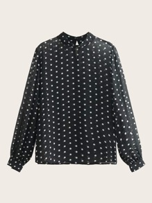 Mock Neck Polka Dot Chiffon Blouse