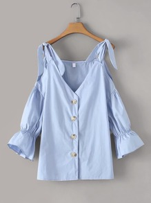 Cold-shoulder Button Front Solid Blouse