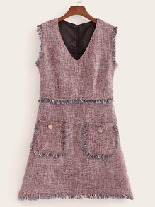 Pocket Front Fringe Trim Tweed Dress