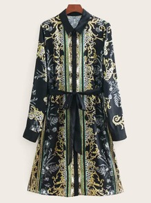 Self Tie Baroque Print Shirt Dress