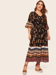 Plus Tribal Print Flounce Sleeve Dress