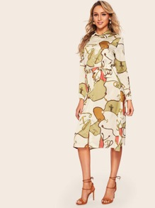 Self Tie Chain Print Shirt Dress