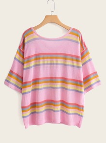 Criss-cross Back Stripe Tee