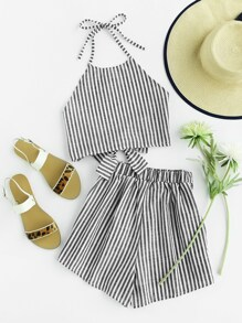 Striped Knot Halter Top With Shorts