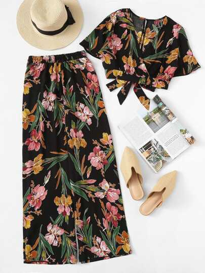 Plus Surplice Front Floral Print Blouse With Pants
