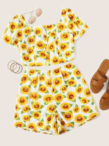 Plus Sunflower Print Blouse With Shorts