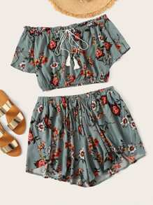 Plus Floral Print Drawstring Blouse With Shorts