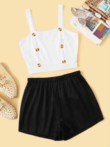 Button Front Crop Top With Shorts