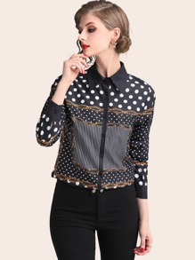 Polka Dot Chain Print Blouse