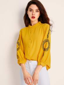 Embroidery Button Front Blouse