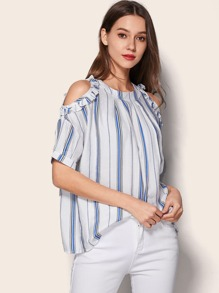 Striped Cold Shoulder Blouse