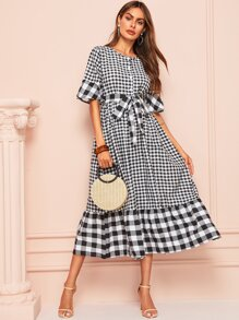 Gingham Waist Tie Dress