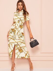 Chain Print Split Hem Belted Dress