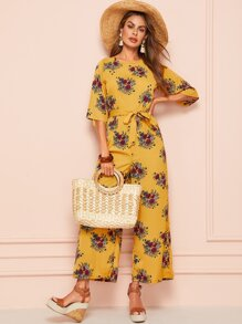 Floral Print Backless Wide Leg Belted Jumpsuit