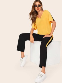 V-neck Tee & Tape Side Elastic Waist Pants