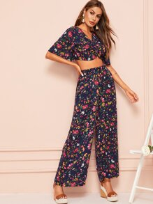 V-neck Floral Print Top & Wide Leg Elastic Waist Pants
