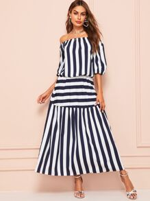 Striped Off the Shoulder Blouse & Elastic Waist Skirt