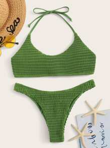 Smocked Halter Top With Hipster Bikini Set