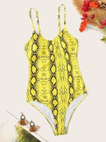 Snakeskin Print One Piece Cami Swimsuit