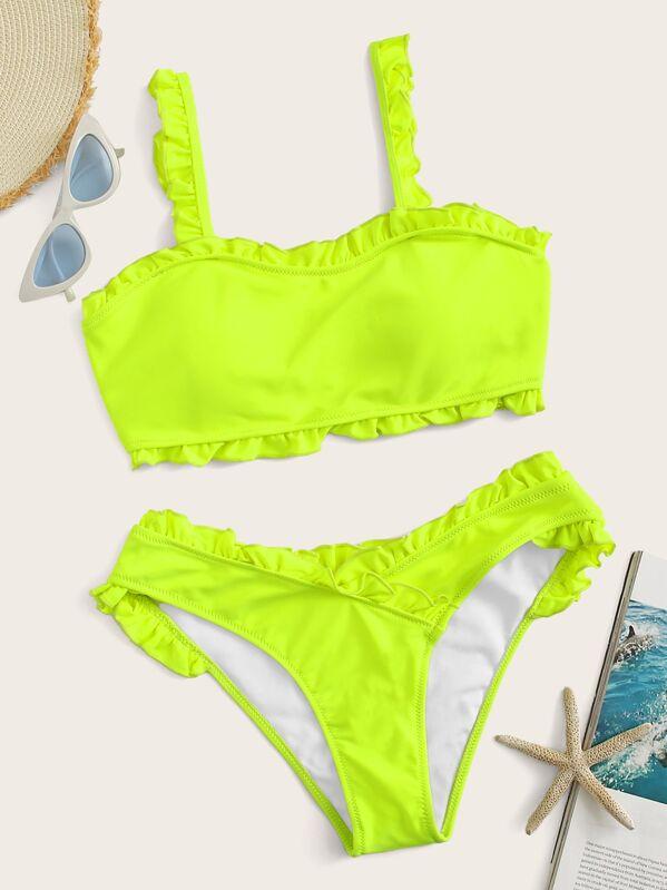 75bf33f7831a Neon Lime Frill Trim Top With Panty Bikini Set   SHEIN UK