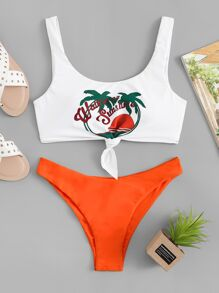 Tropical & Letter Print Mix and Match Bikini