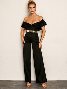 Joyfunear Foldover Palazzo Bardot Jumpsuit Without Metallic Belt