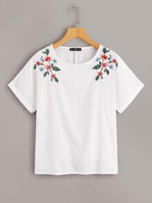 Rolled Up Sleeve Botanical Embroidery Blouse