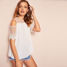 Cold Shoulder Keyhole Back Mesh Insert Top