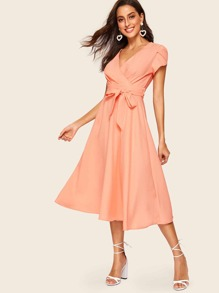 60s Petal Sleeve Belted Fit & Flare Dress