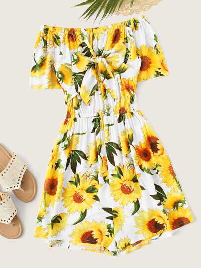ce184fb473f3c Knot Back Sunflower Print Cami Dress in 2019 Anabella39s New
