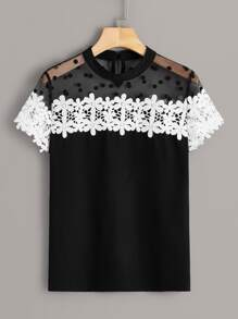 Dot Mesh & Guipure Lace Panel Blouse