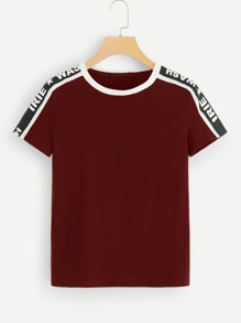 Contrast Letter Taped Shoulder Tee