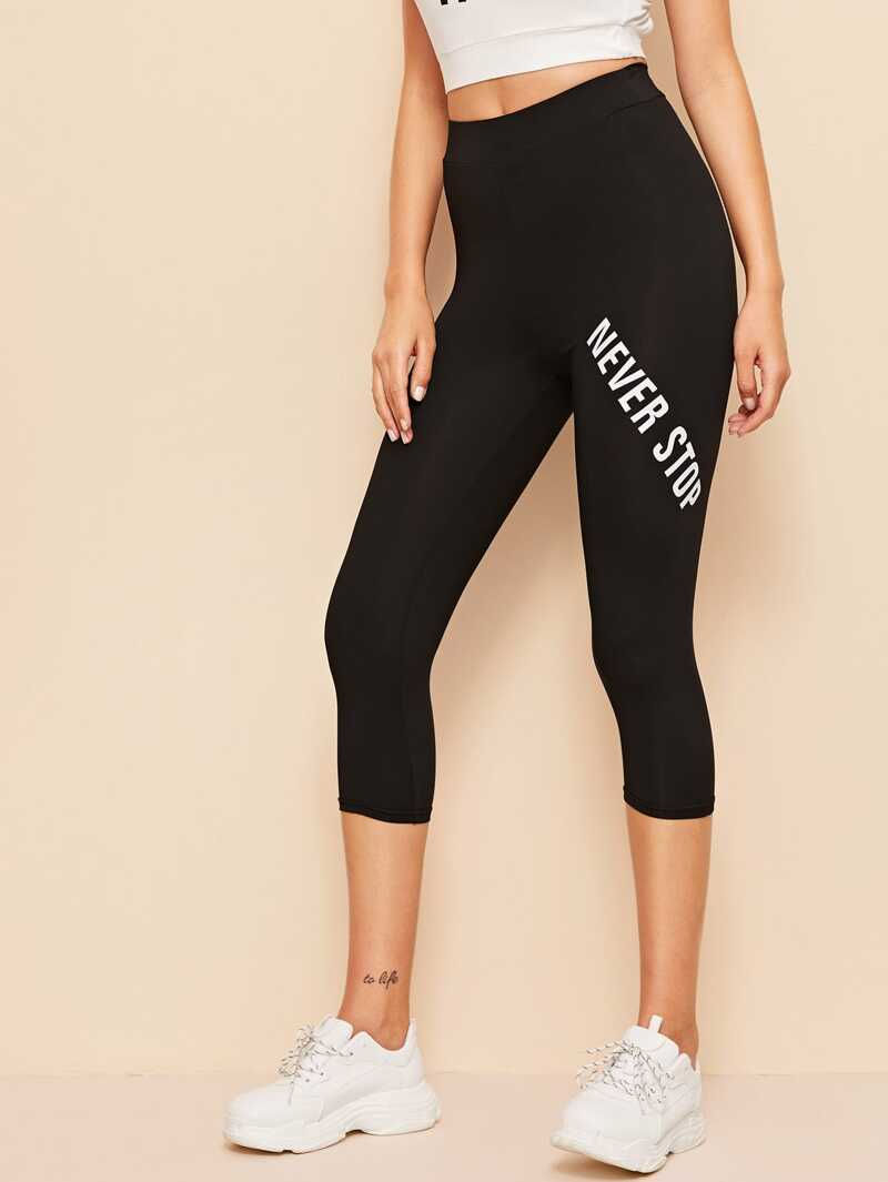 d939a0d25 Leggings cortos con estampado de letra de cintura alta | ROMWE