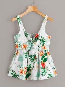 Floral Print Tie Neck Shirred Back Cami Top