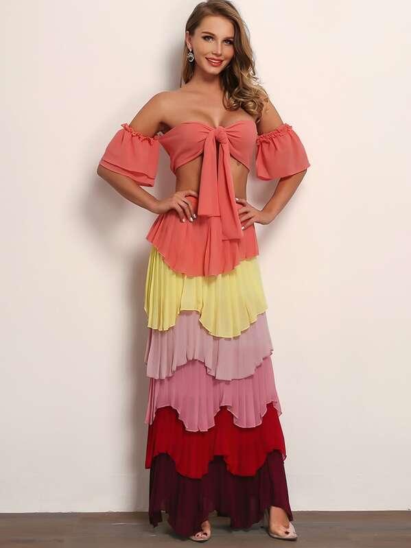 33c1d5e5833 Joyfunear Flounce Sleeve Knot Bardot Top   Tiered Layered Skirt Set ...