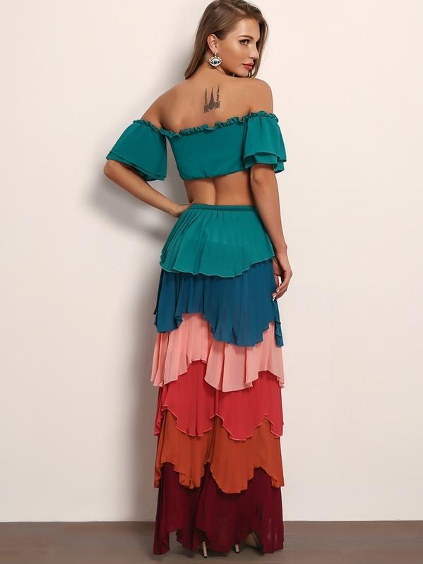 d5d167668c Joyfunear Flounce Sleeve Knot Bardot Top   Tiered Layered Skirt Set ...