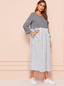 Gingham & Vertical-stripe Print Pocket Patched Hijab Dress