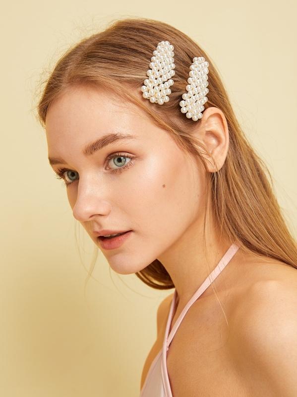 8e274da4de Faux Pearl Decor Hair Snap Clip 2pack | SHEIN UK