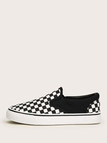 Gingham Canvas Slip On Sneakers