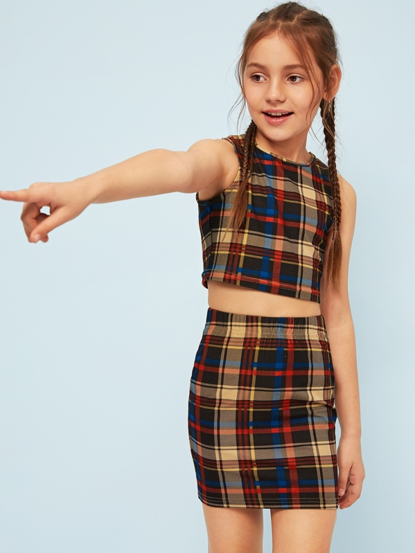 7f067b6d978ea Girls Crop Plaid Tank Top   Skirt Set
