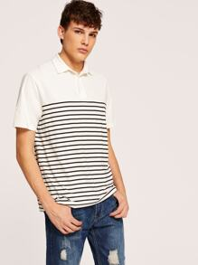 Men Buttoned Front Striped Polo Shirt